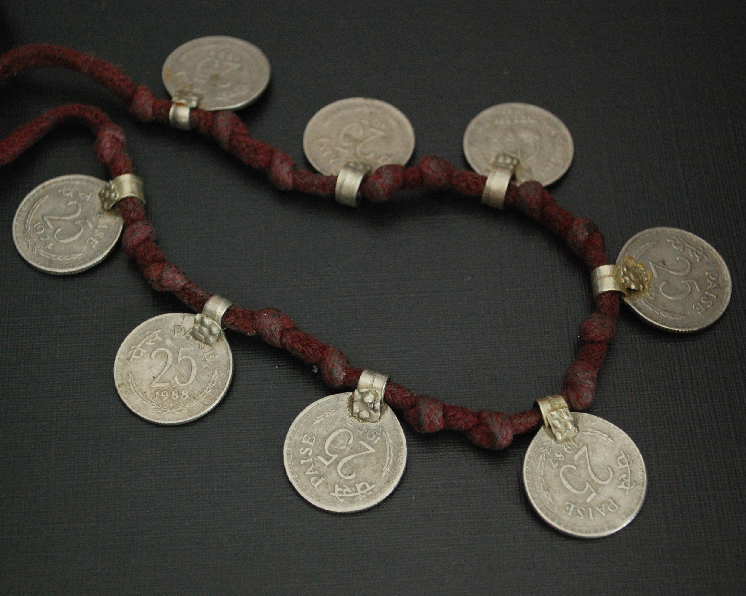 Old Indian Coins Necklace on Cotton Cord