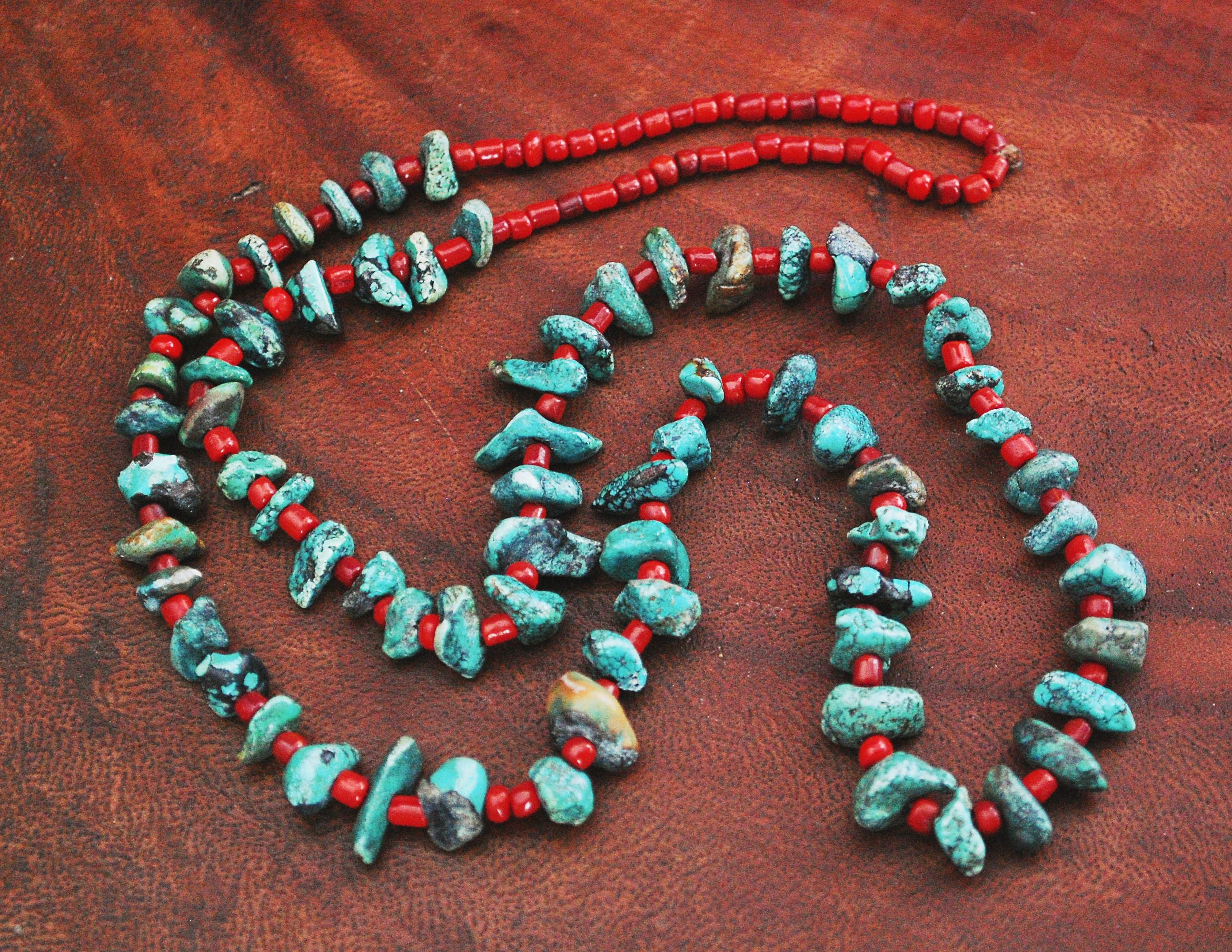 Native American Santo Domingo Turquoise Nugget Coral Necklace