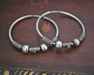 Ethnic Bali Hoop Earrings with Wire Work and Bead