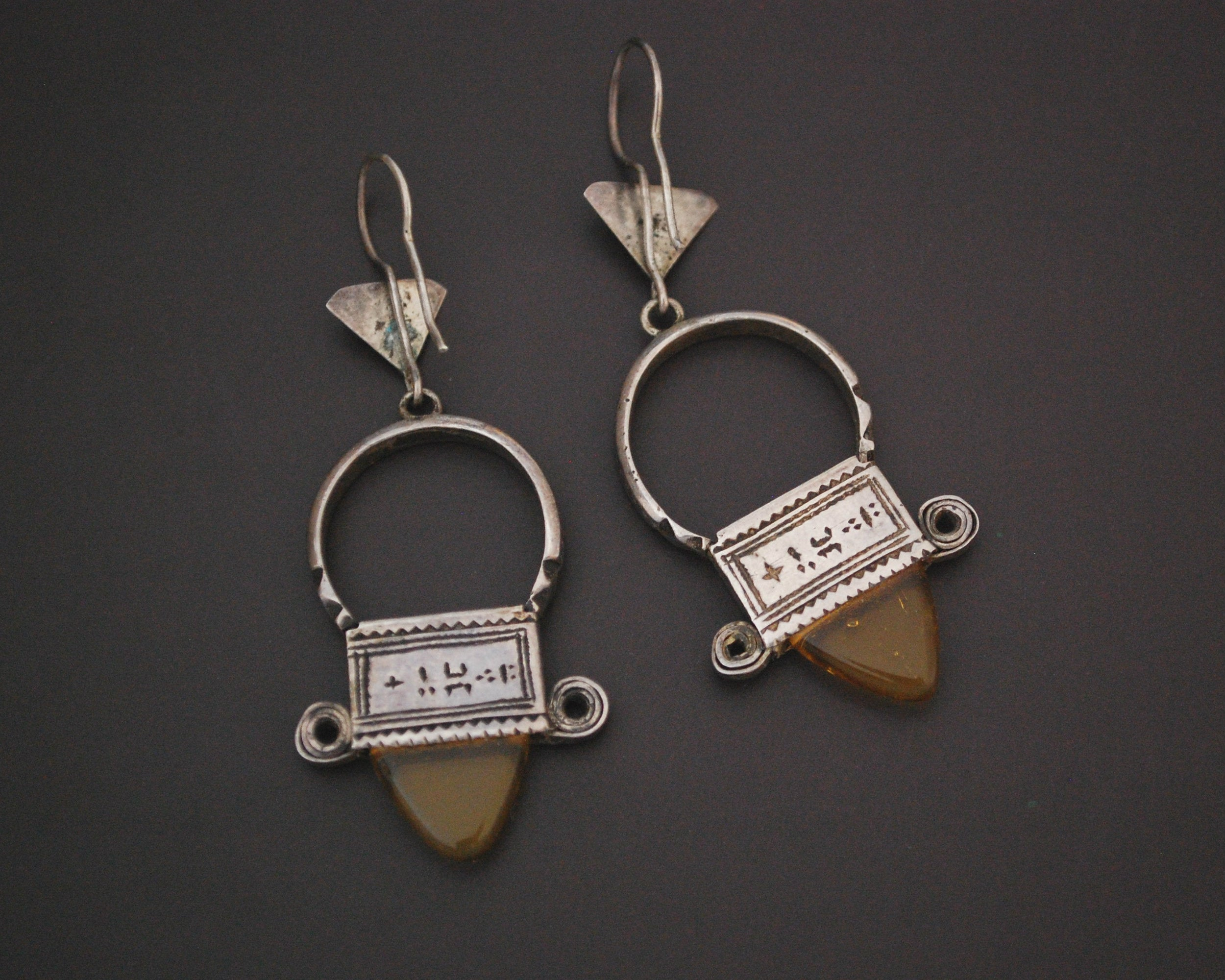 Tuareg Earrings with Yellow Glass