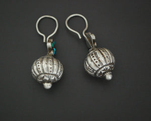 Smaller Sized Afghani Earrings with Turquoise