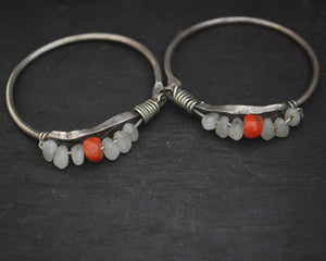 Old Berber Hoop Earrings with Coral