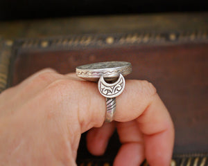 Turkmen Deer Ring with Crescent Moon - Size 7