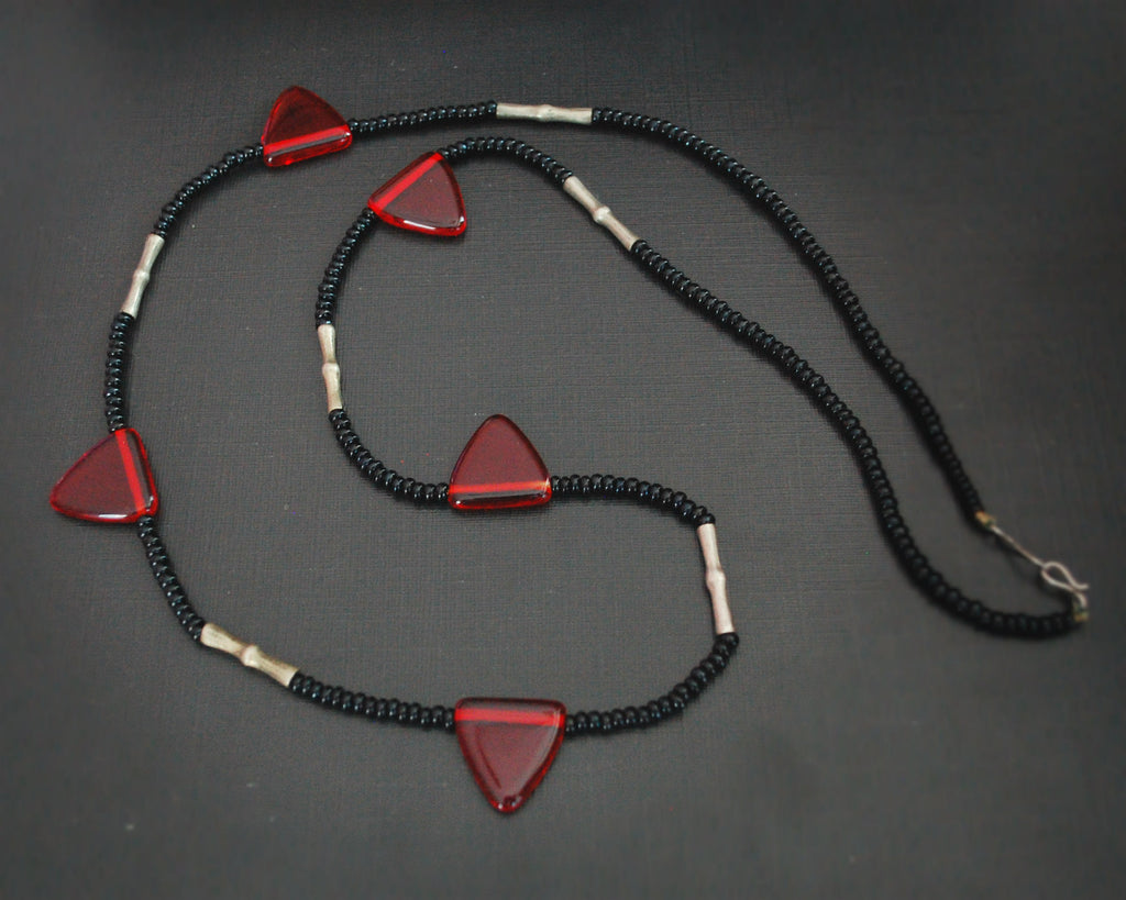 Tuareg Red Beads Necklace - Long