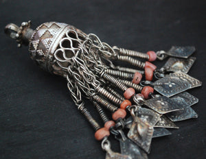 Tribal Kazakh Pendant with Coral Tassels