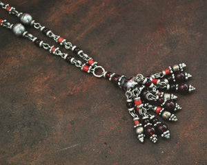 Ethnic Coral Garnet Silver Necklace from India