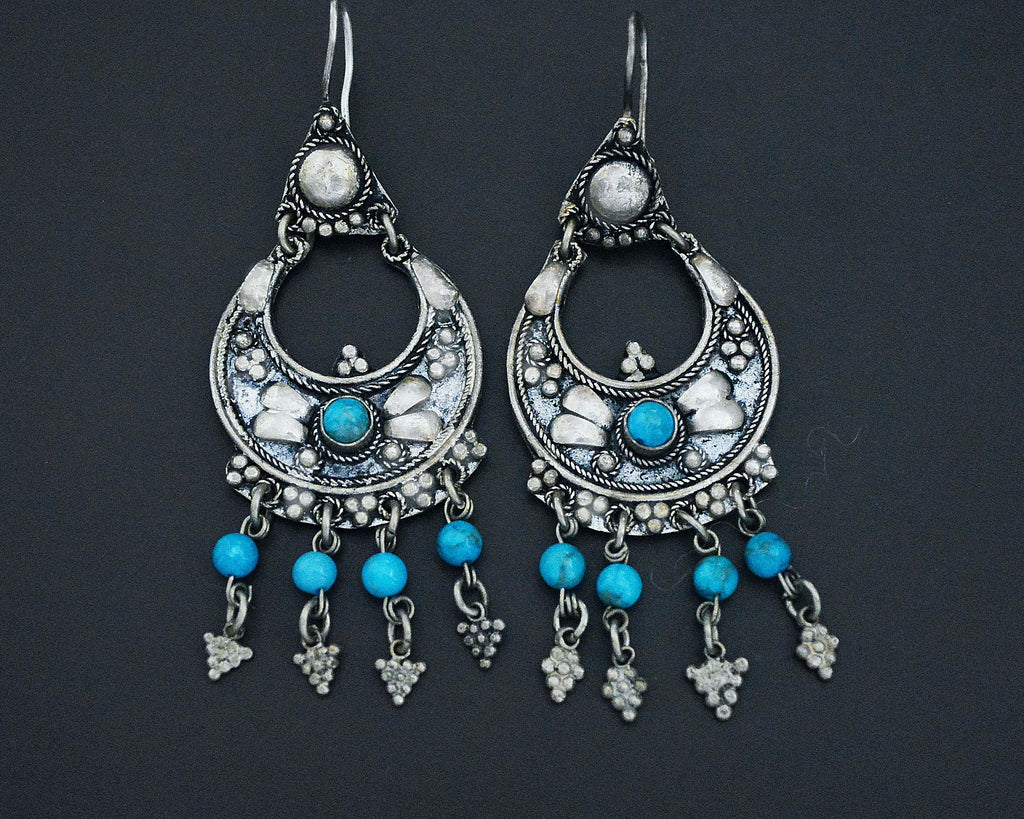 Ethnic Dangle Earrings with Turquoise