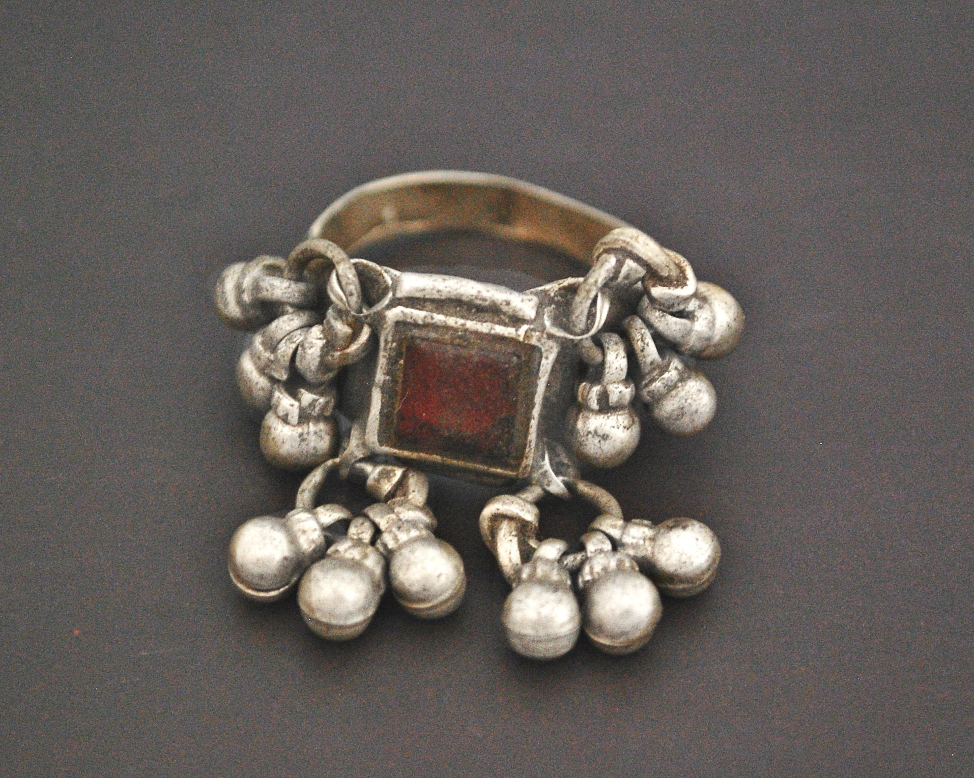Old Rajasthani Silver Ring with Bells - Size 8
