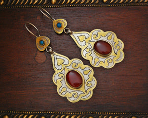 Vintage Turkmen Earrings with Carnelian and Turquoise