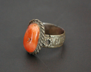 Old Yemeni Bedouin Coral Ring - Size 4.75
