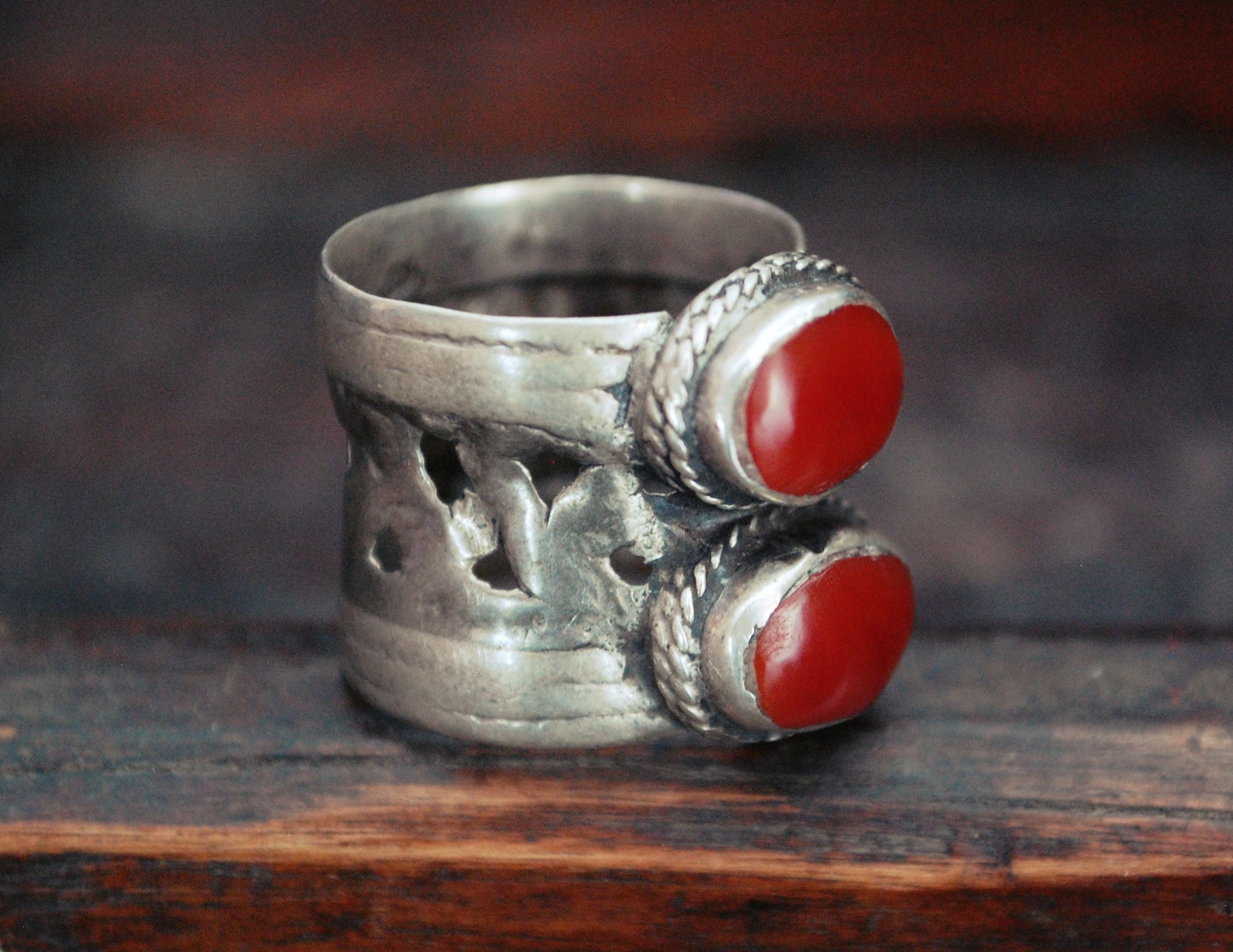 Afghani Old Silver Carnelian Ring - Size 8