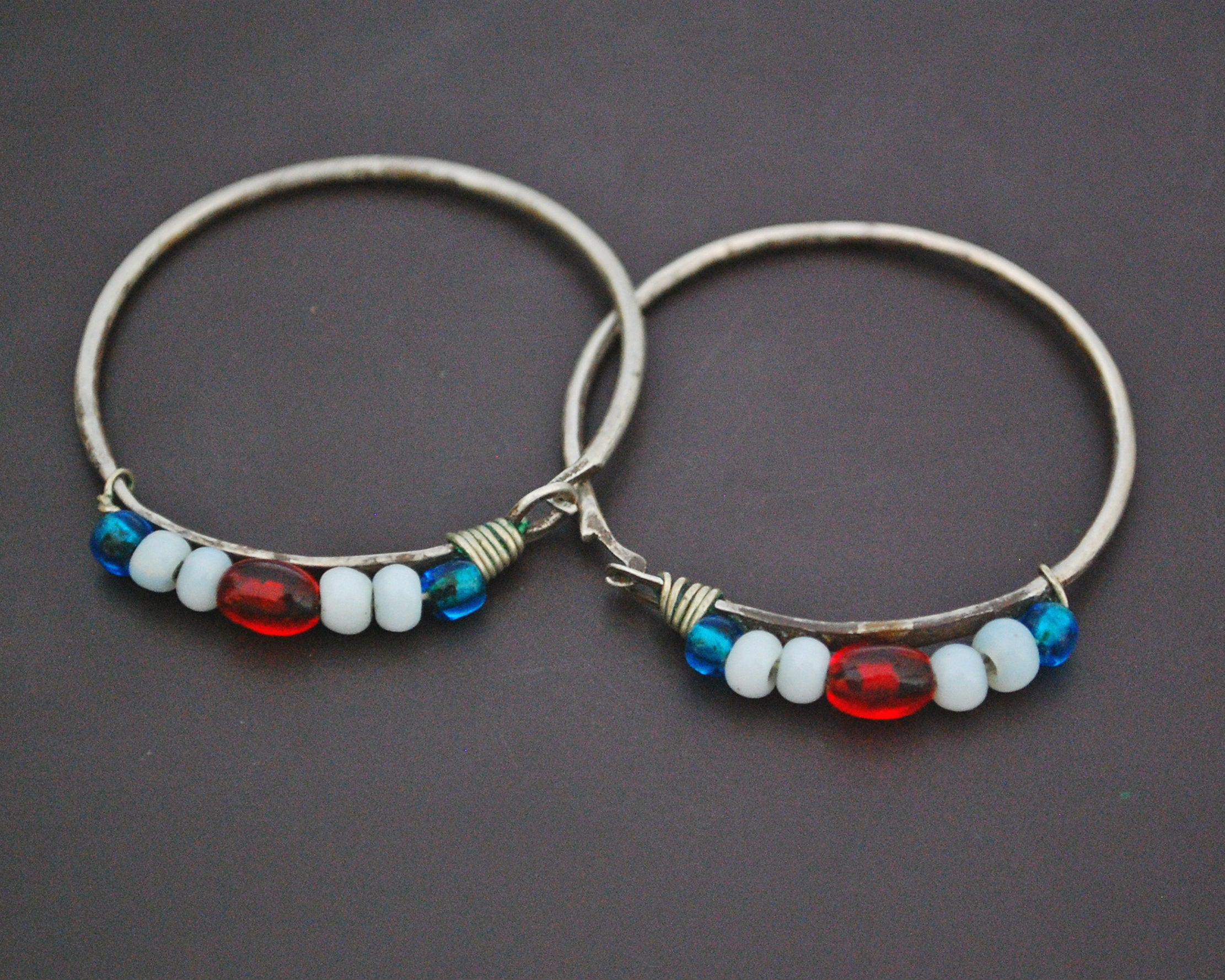 Old Berber Hoop Earrings with Glass