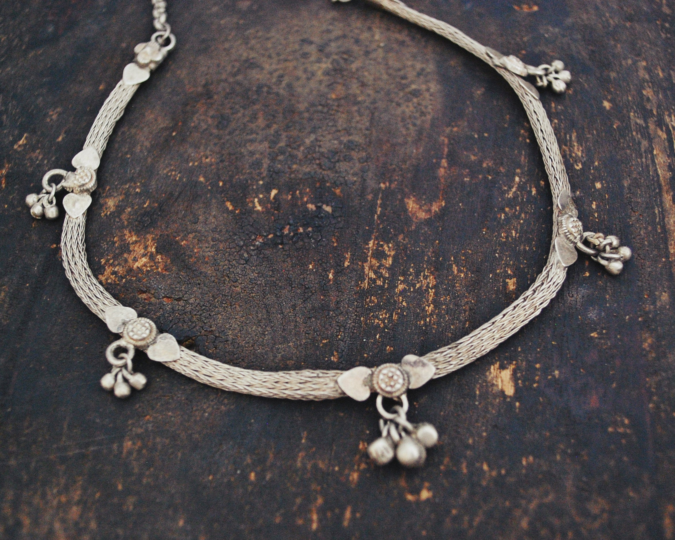 Indian Silver Choker Necklace with Bells