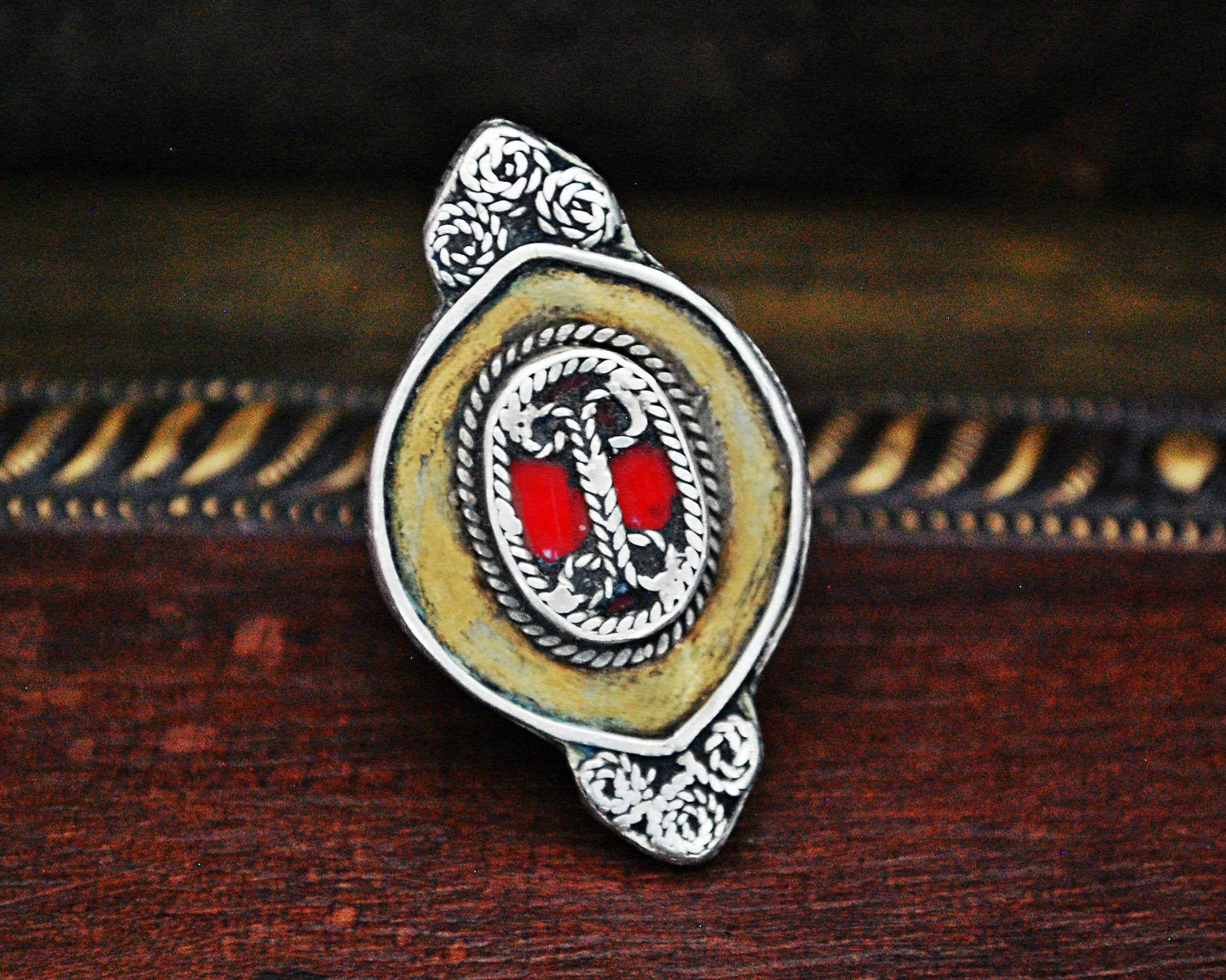 Tribal Kazakh Silver and Gold Gilded Ring - Size 7.5