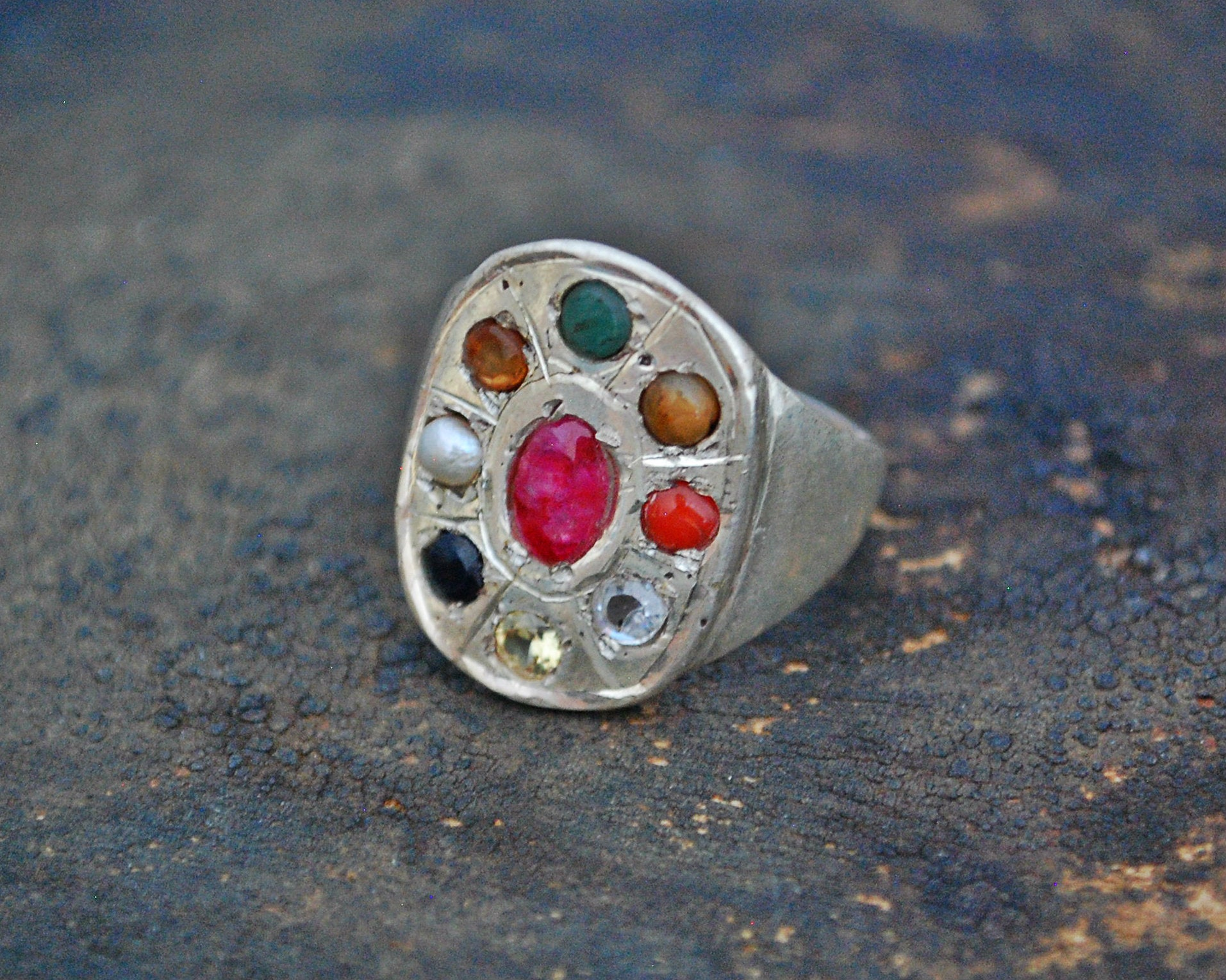 Indian Navaratna Nine Gemstone Astrology Ring - Size 8.5