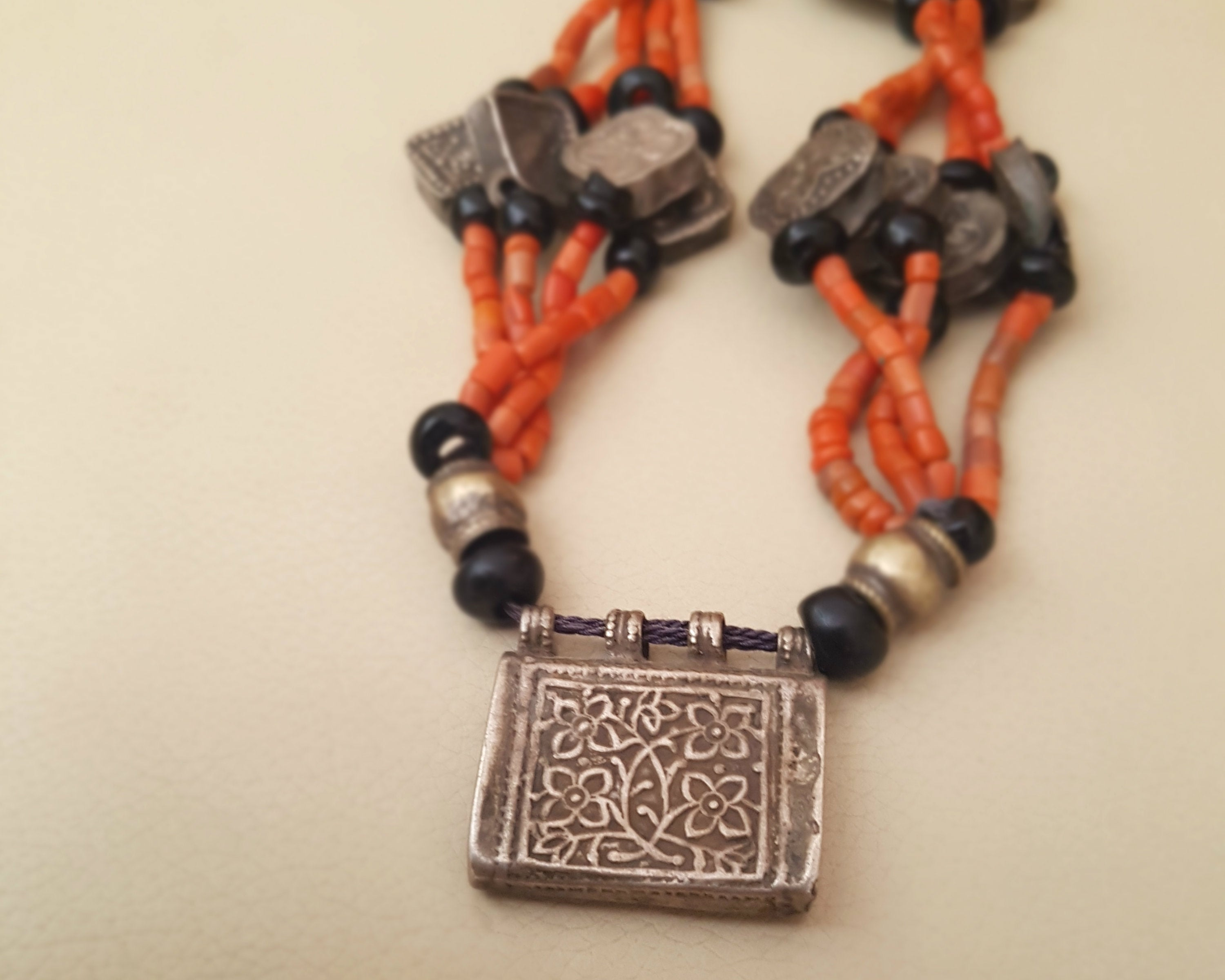 Rare Tajik Wedding Necklace with Coral