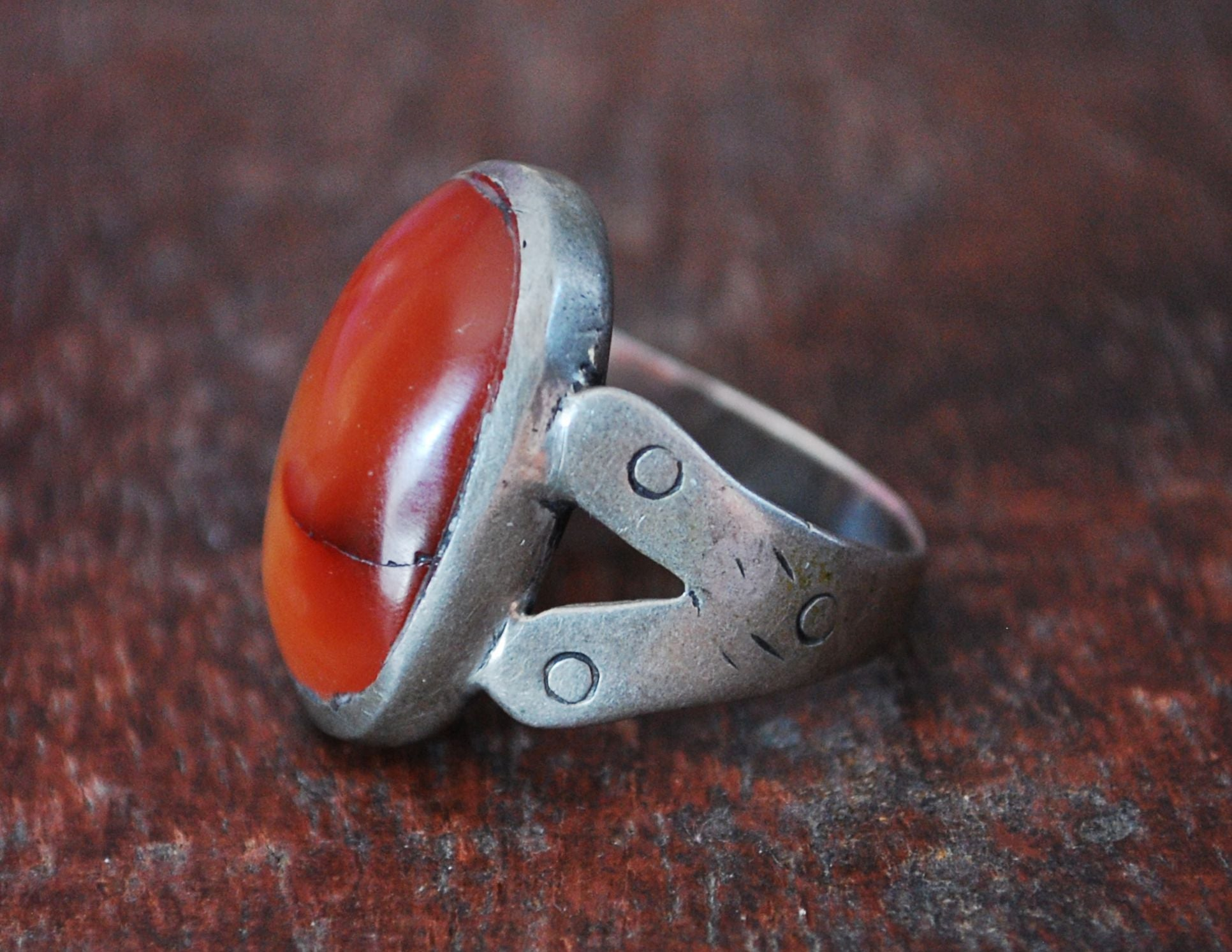 Old Afghani Agate Ring - Size 8.75