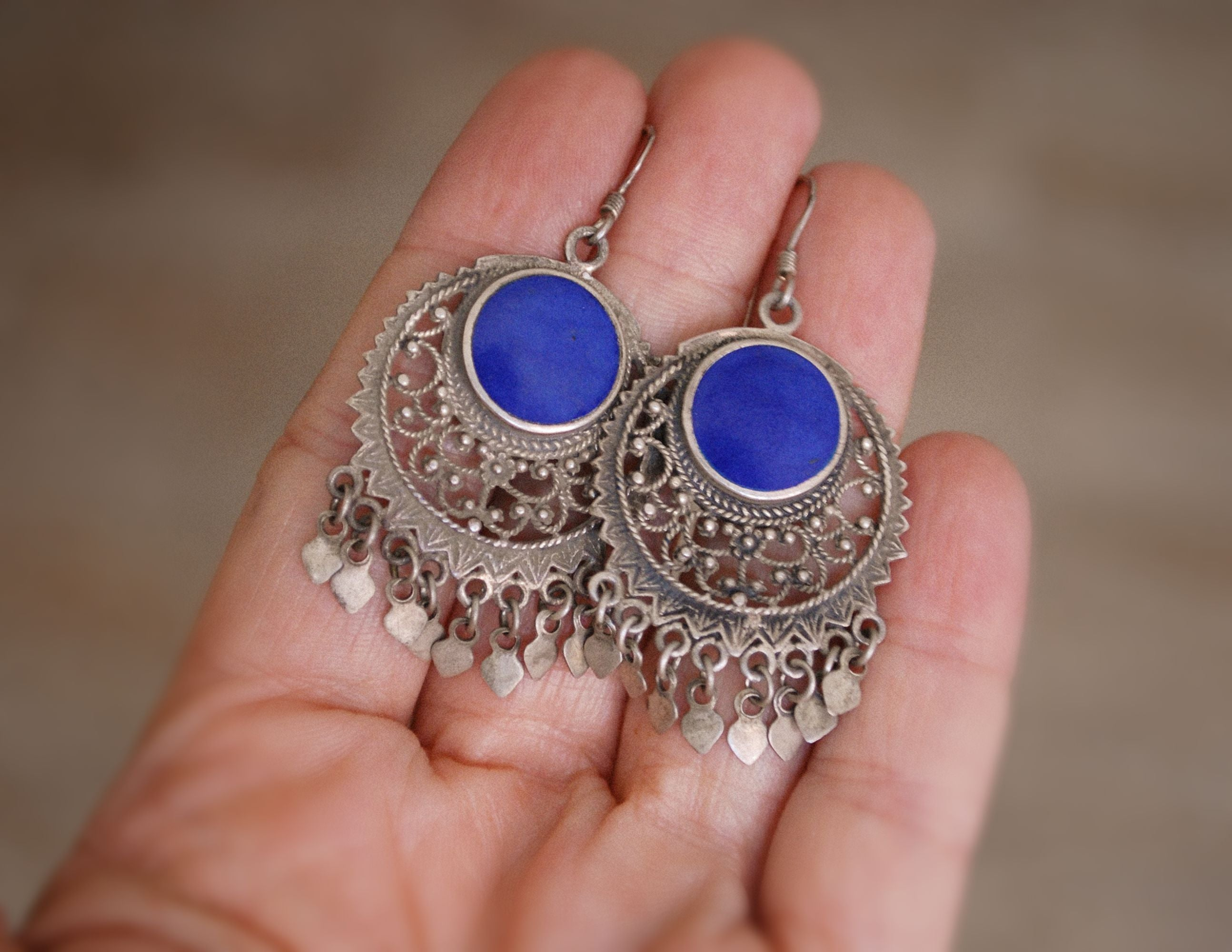 Ethnic Lapis Lazuli Earrings