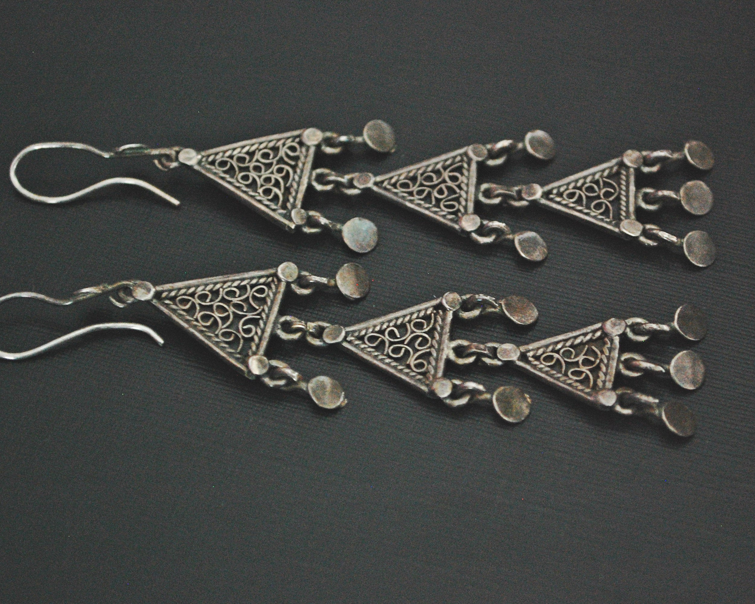 Ethnic Sterling Silver Oriental Filigree Dangle Earrings
