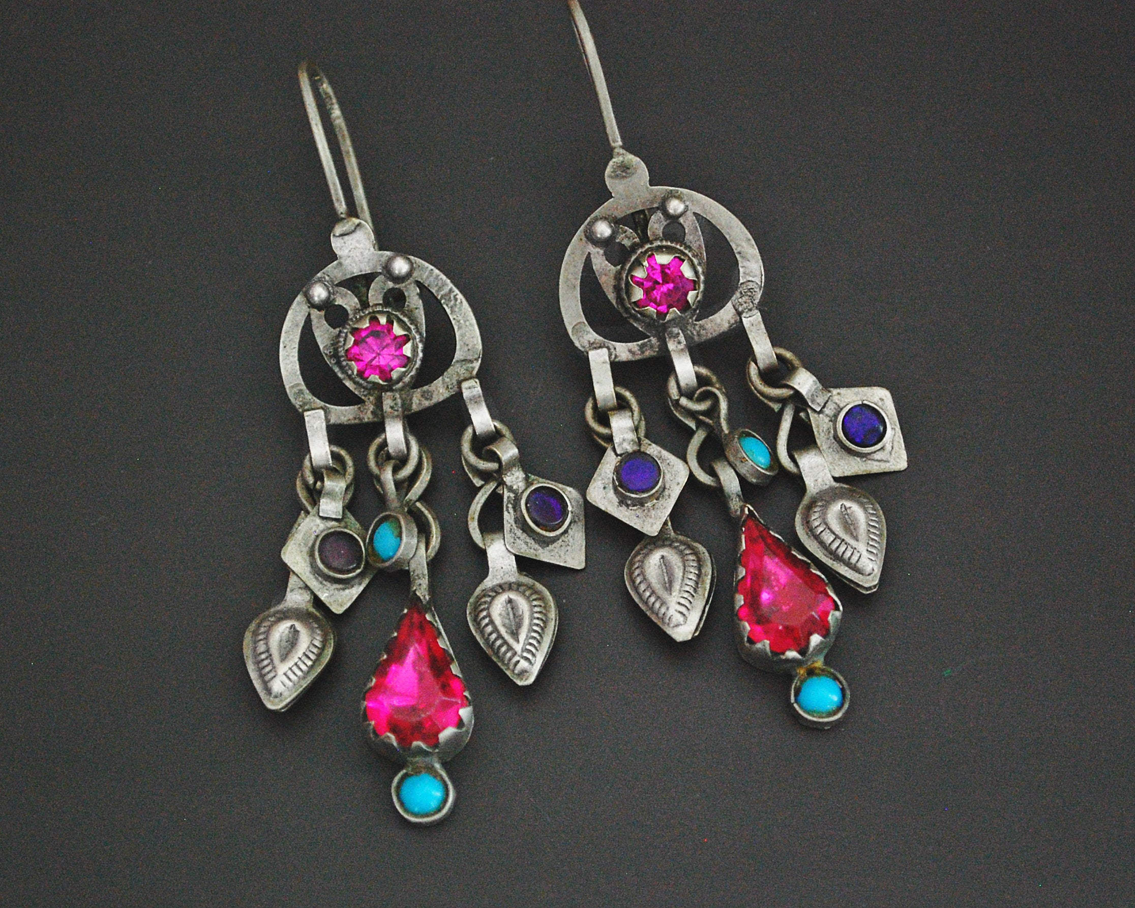 Afghani Earrings with Glass Stones and Tassels