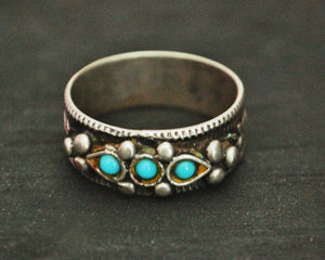 Antique Afghani Turquoise Band Ring - Size 9