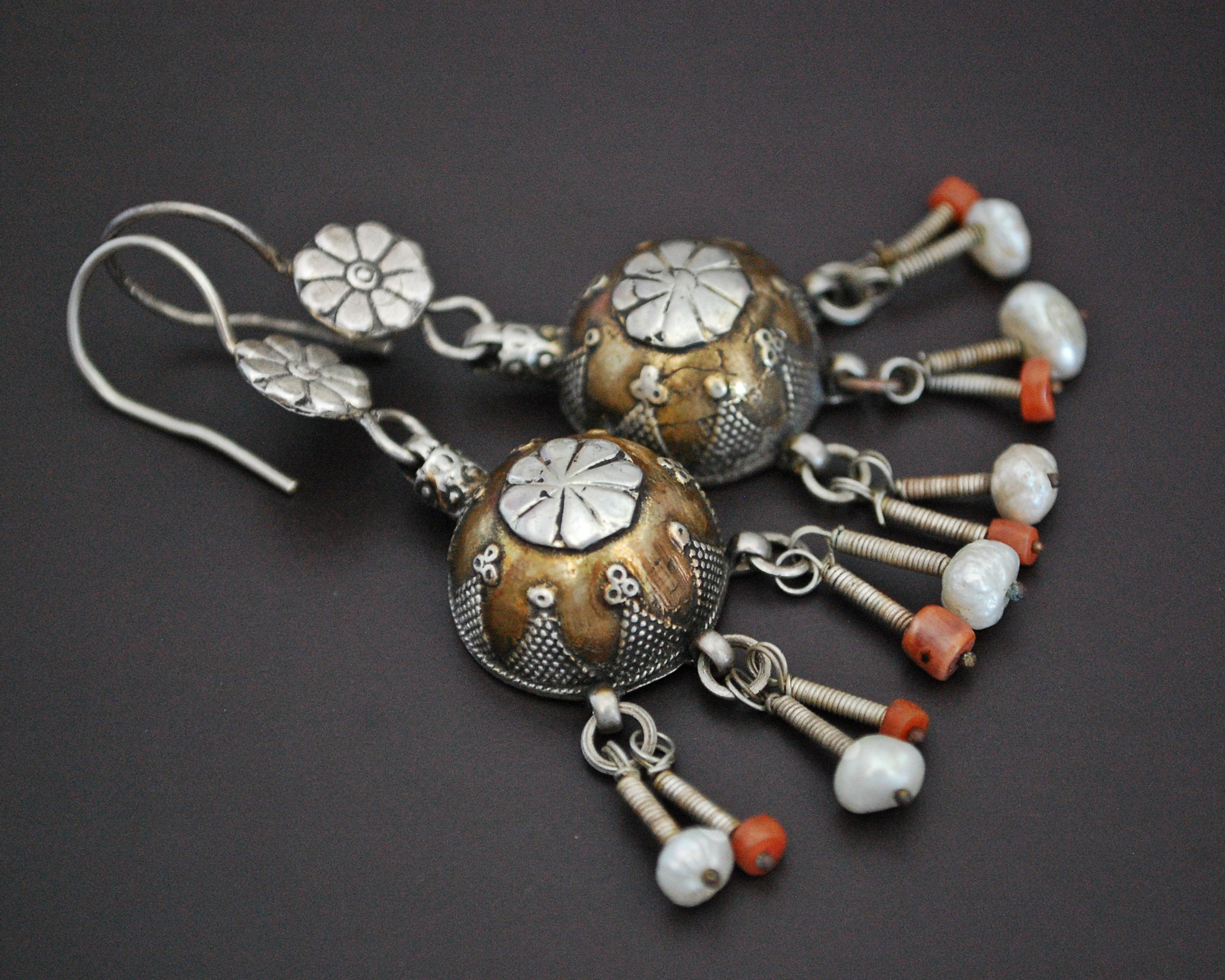 Vintage Kazakh Silver Gilded Earrings with Coral and Pearls