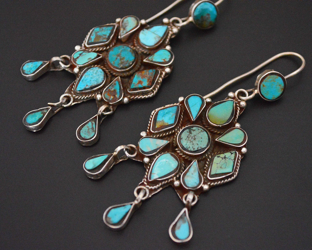 Wonderful Turquoise Earrings from India with Dangles