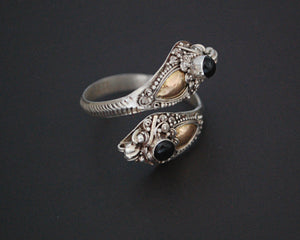 Double Dragon Onyx Ring from Bali - Size 11 / Adjustable Size