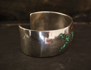 Vintage Mexican Chip Inlay Cuff Bracelet