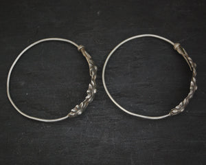 Antique Afghani Hoop Earrings with Flowers