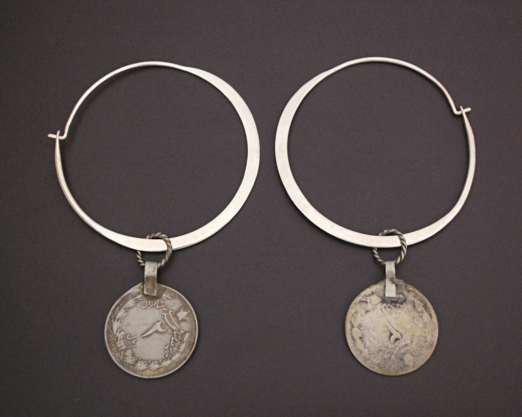 Large Sterling Silver Hoop Earrings with Old Coin