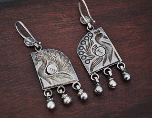 Rajasthani Silver Peacock Earrings with Bells