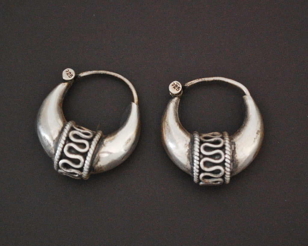 Ethnic Hoop Earrings with Wirework - SMALL