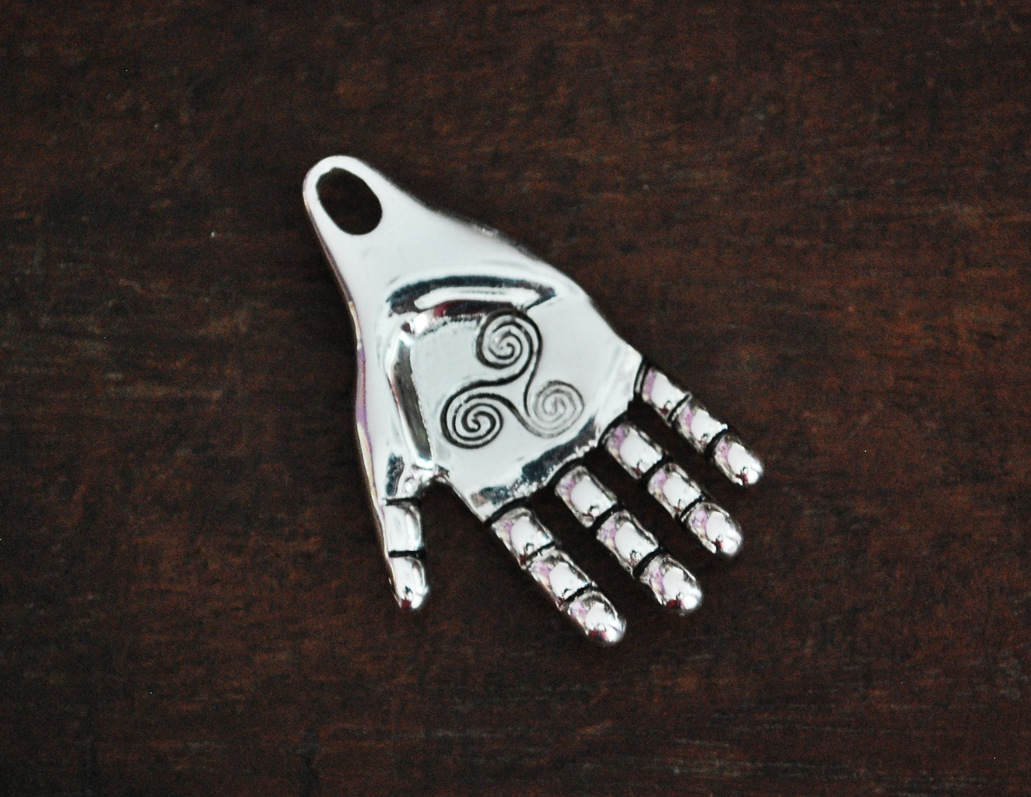 Solid Silver Hand Amulet with Triskelion