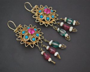Gilded Uzbek Earrings with Stones