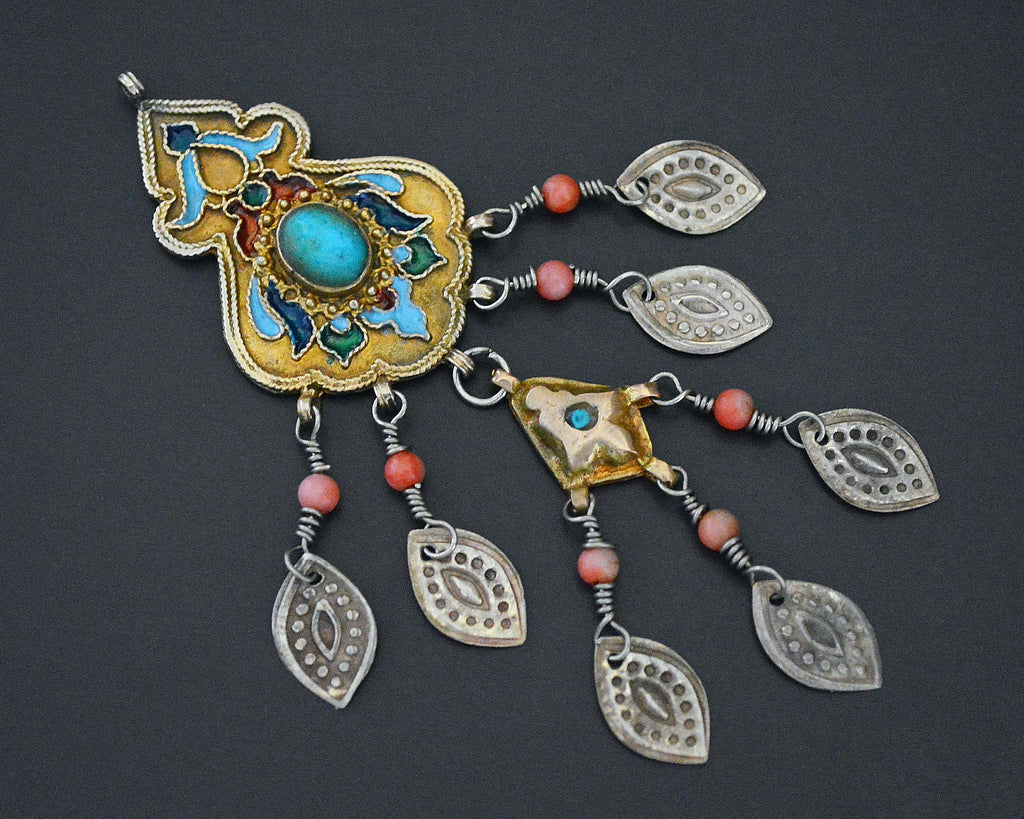 Old Gilded Uzbek Coral Turquoise Pendant with Enamel