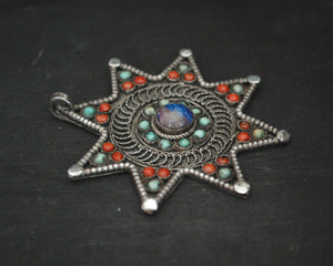 Nepali Star Pendant with Lapis Lazuli, Coral and Turquoise