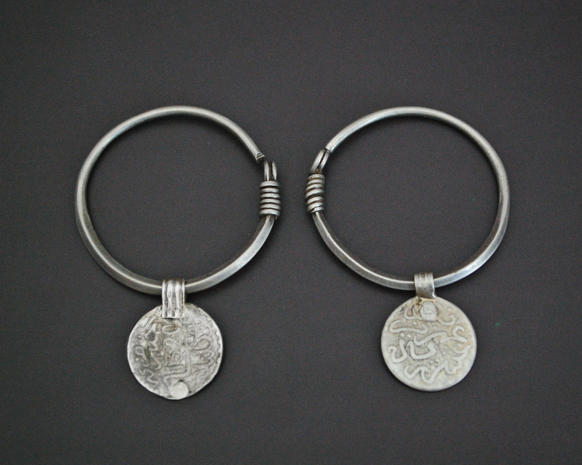 Hoop Earrings with Berber Coins - MEDIUM