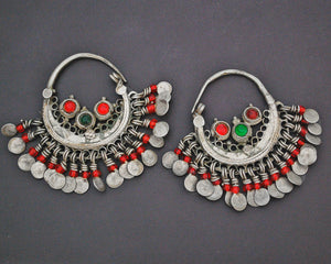 Afghani Hoop Earrings with Red Glass Tassels