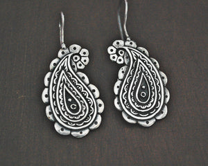 Ethnic Sterling Silver Paisley Charm Earrings