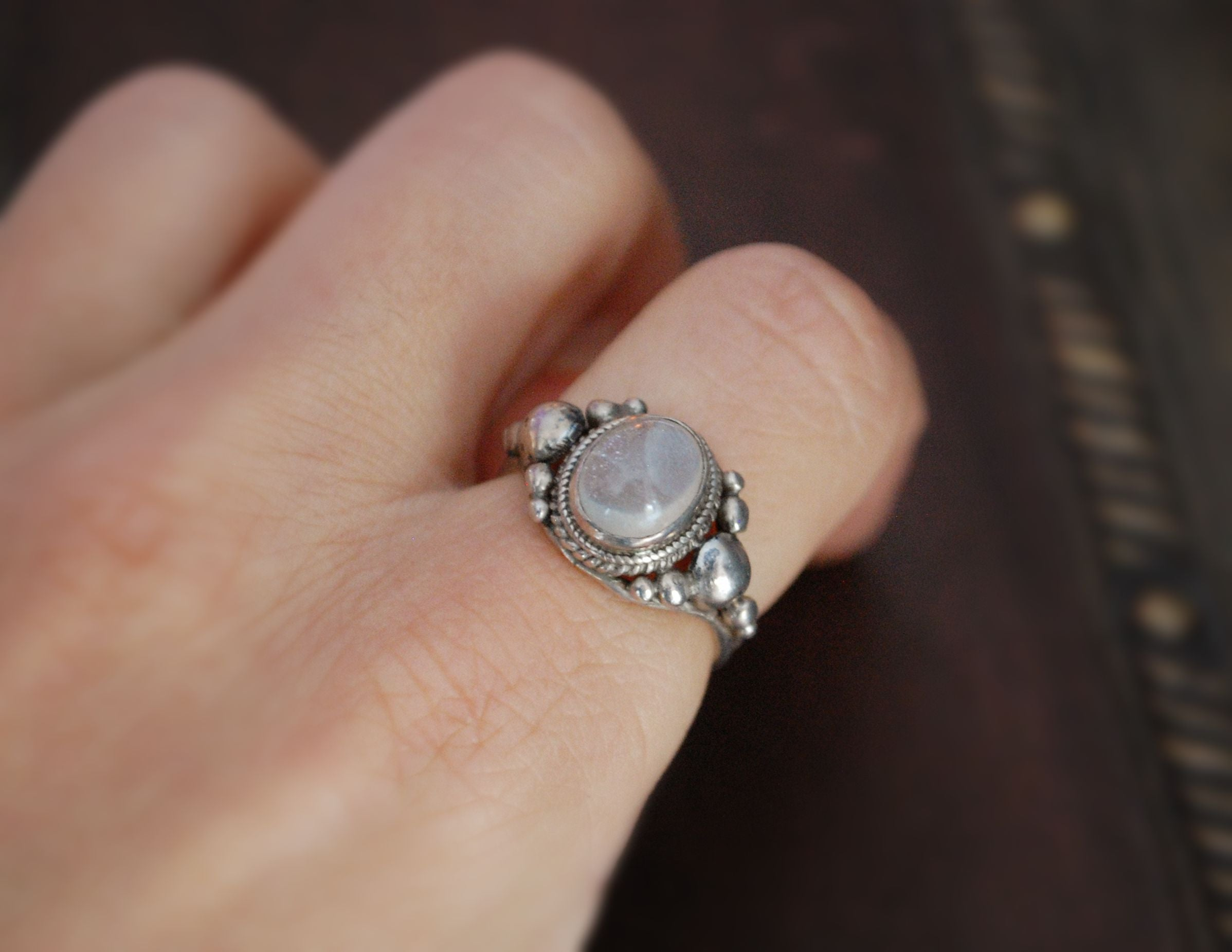 Ethnic Moonstone Ring from India - Size 6.5