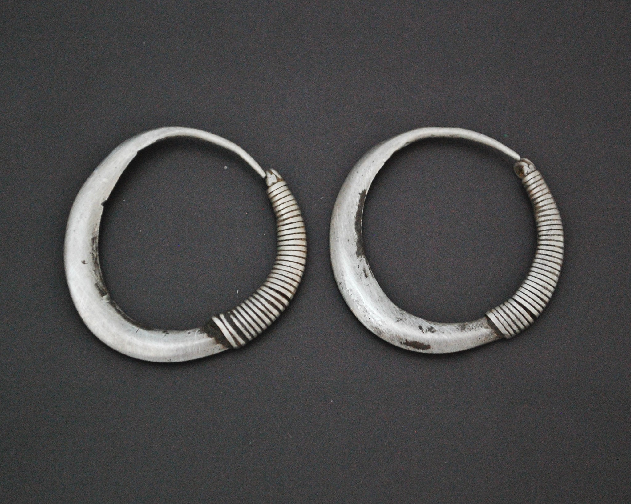 Antique Afghani Hoop Earrings - Flatened