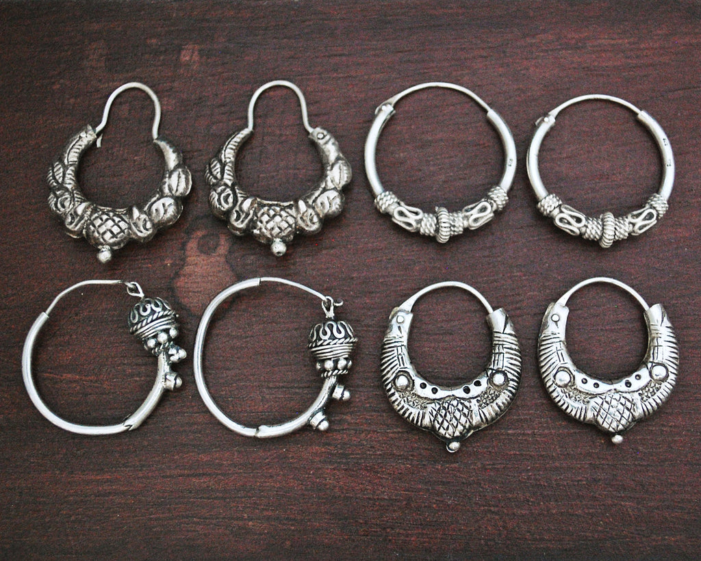 Ethnic Hoop Earrings - Small - Set of Four