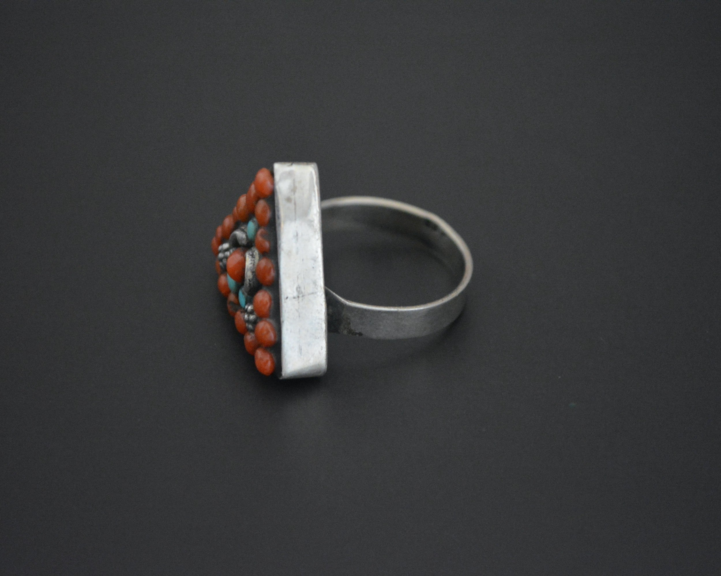 Nepali Turquoise Coral Ring - Size 9