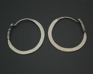 Antique Afghani Hoop Earrings with Flat Design