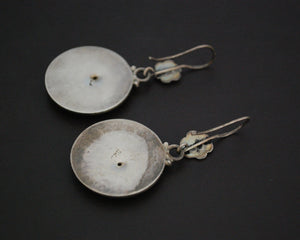 Indian Silver Dangle Earrings with Flower