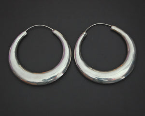 Huge Ethnic Silver Hoop Earrings