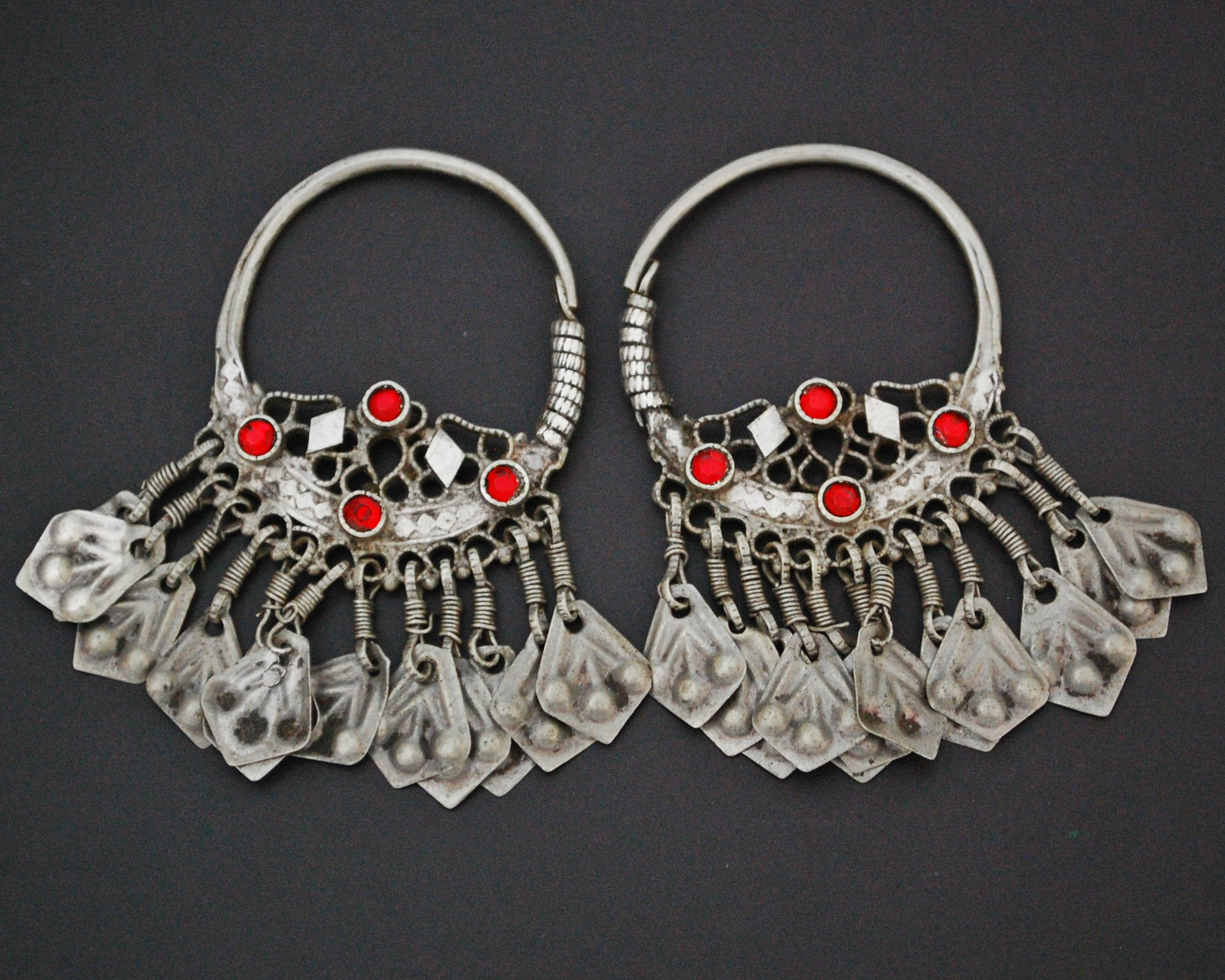 Afghani Hoop Earrings with Tassels and Red Glass