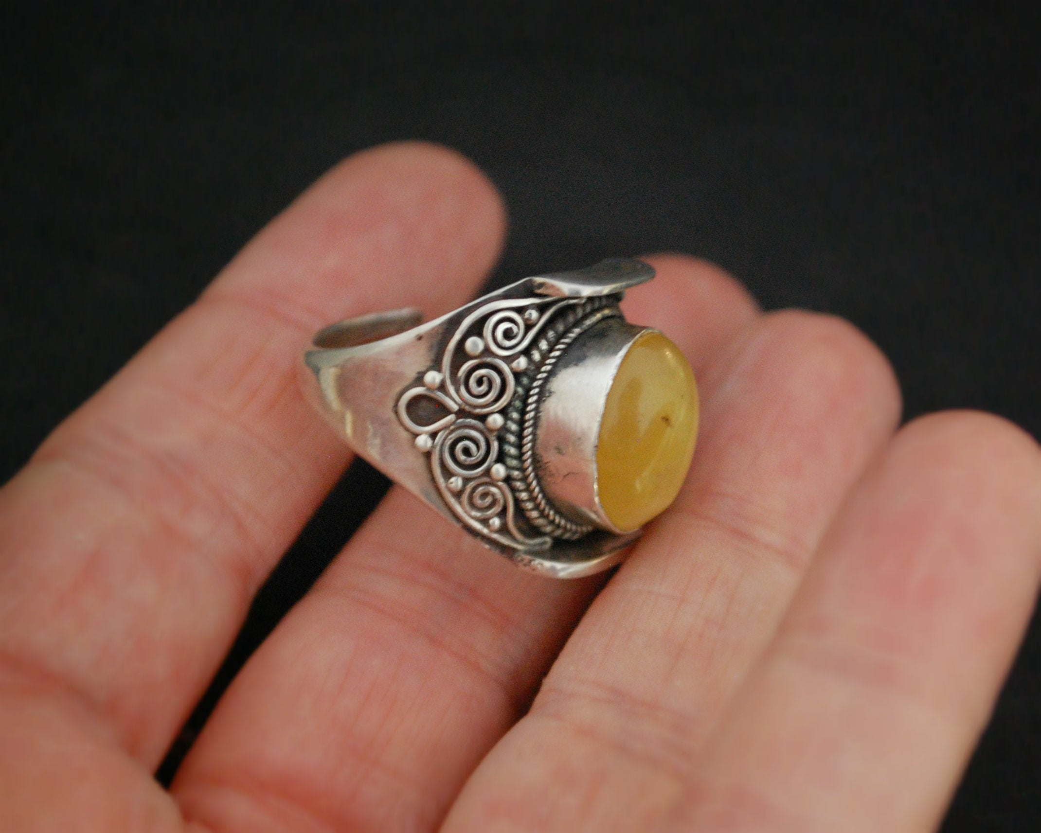 Nepali Amber Saddle Ring - Adjustable Size 7+