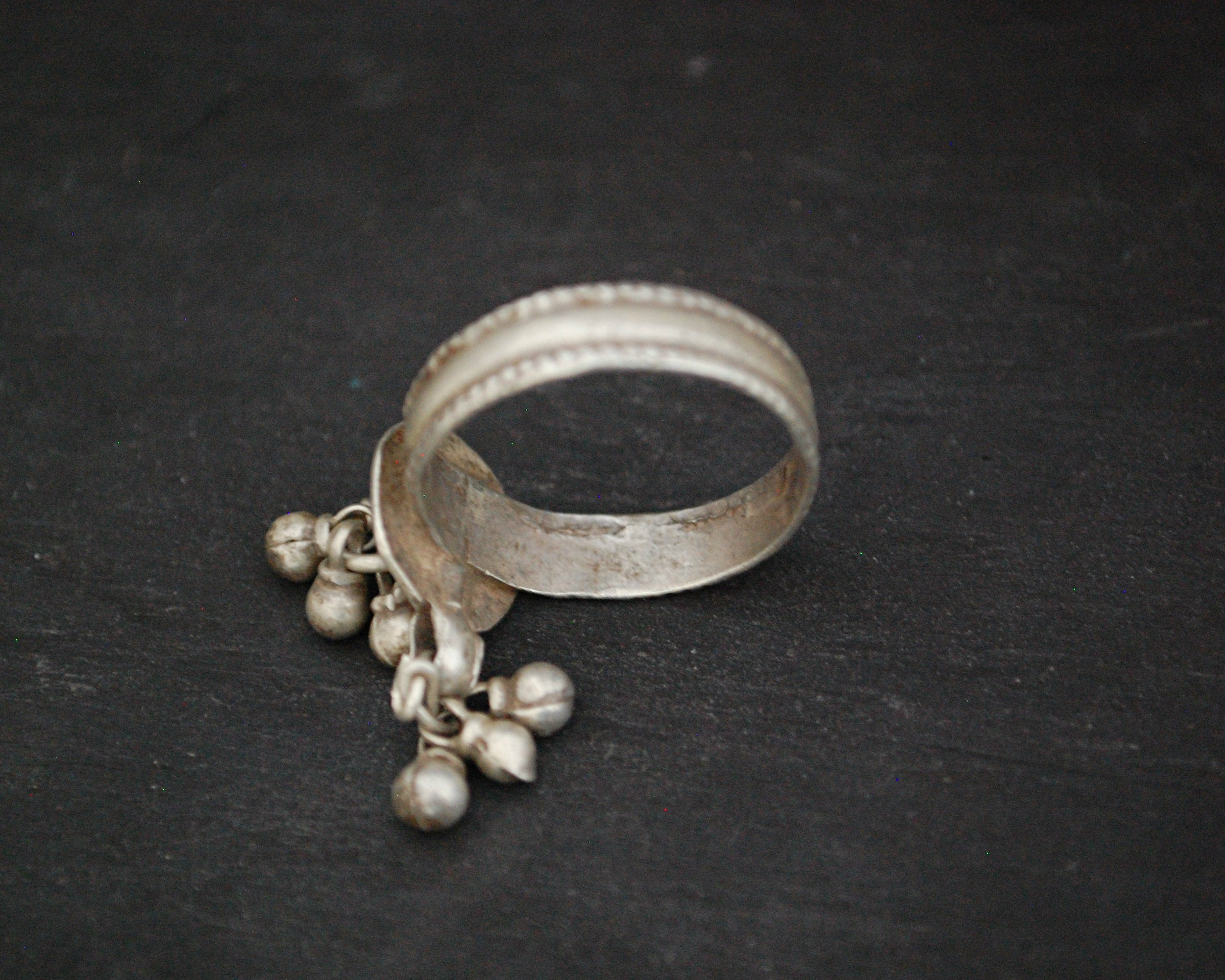 Old Rajasthani Silver Ring with Bells - Size 12.25